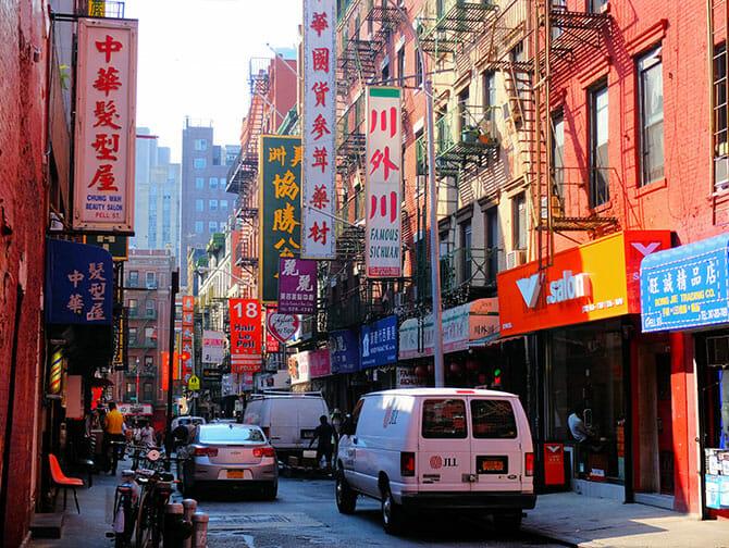 Chinatown i New York - Typisk bygning