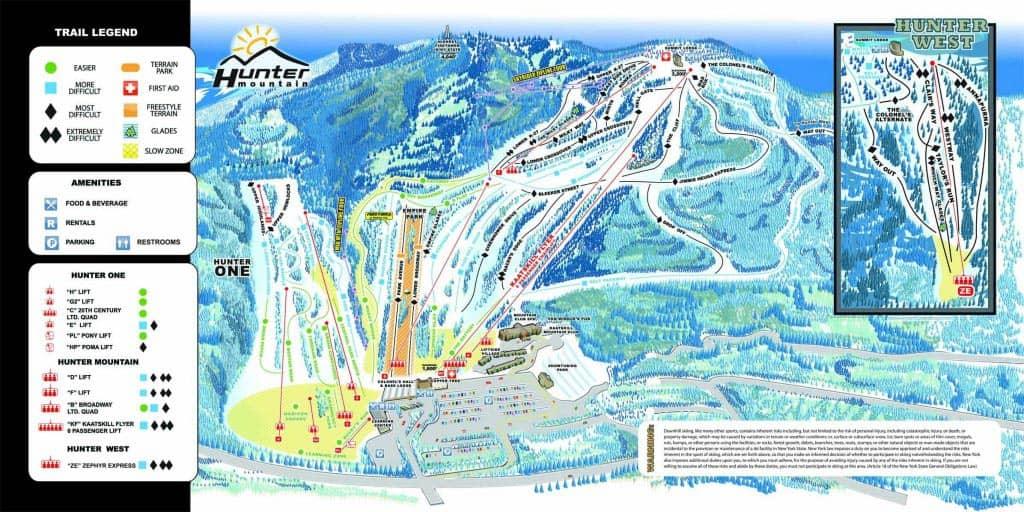Ski eller snowboard dagstur i New York - Kart over løyper