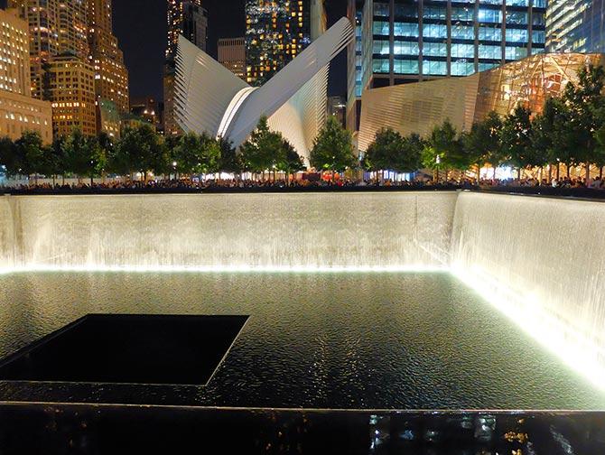 9/11 Memorial i New York - Kveldstid