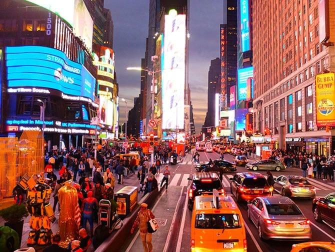 Big Bus in New York - Times Square på kvelden