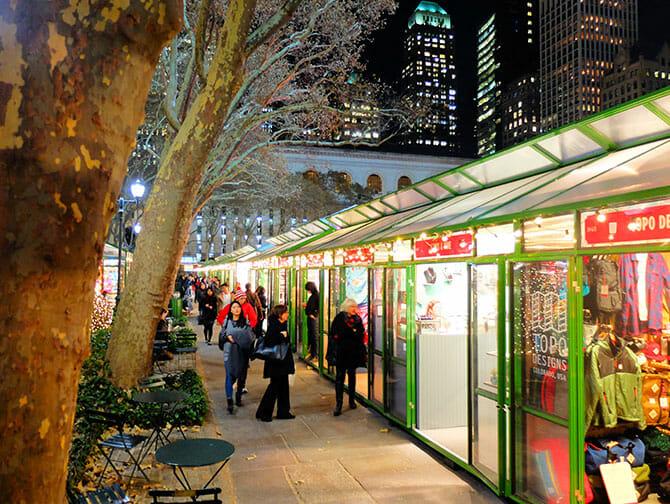Markeder i New York - Dekorasjon i Bryant Park