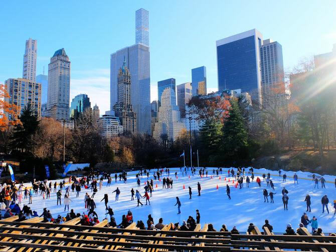 Central Park - Staa paa skoeyter paa Wollman Rink
