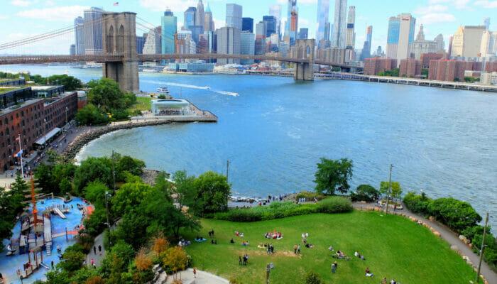 Brooklyn Bridge Park i New York - Sett ovenfra