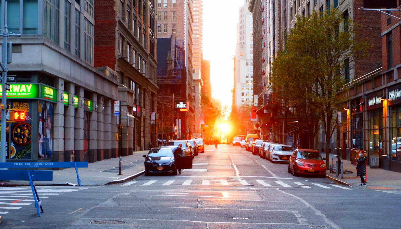 Manhattanhenge Street - Utsikt