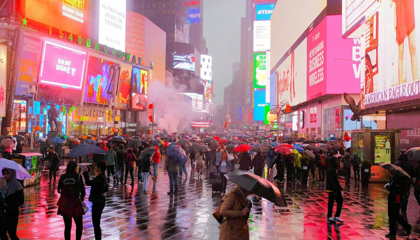 Regn i New York - Times Square