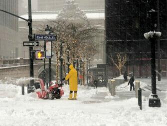 Snø i New York - gate